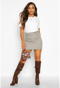 Stone Petite Check Self Fabric Belt Mini Skirt