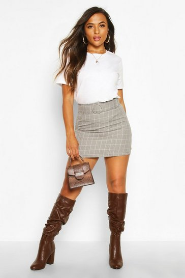 Womens Stone Petite Check Self Fabric Belt Mini Skirt