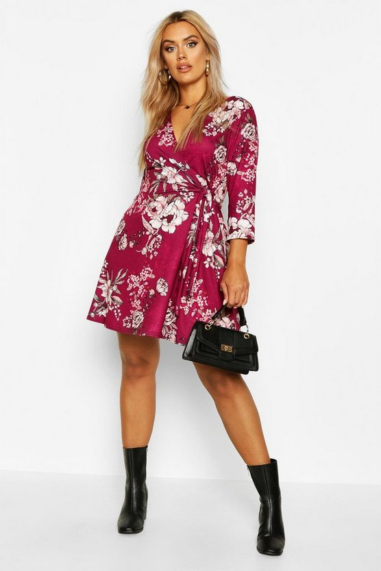 Berry Plus Printed Wrap Dress