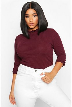 Womens Berry Plus High Neck Ribbed Top