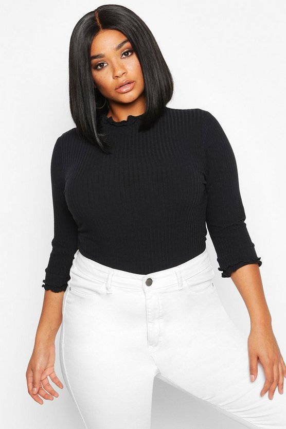 Black Plus High Neck Ribbed Top