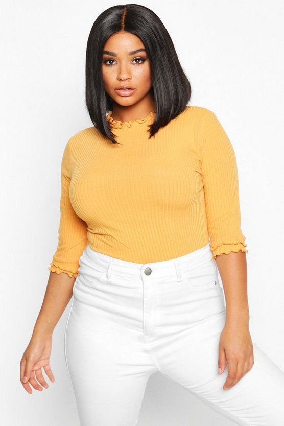Mustard Plus High Neck Ribbed Top
