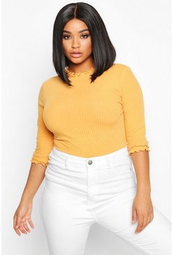 Womens Mustard Plus High Neck Ribbed Top