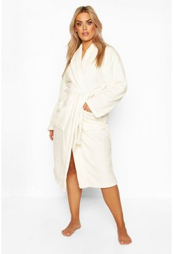 Womens Cream Plus Super Soft Dress Robe