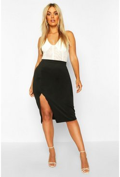 Womens Black Plus Scuba Scallop Split Midi Skirt