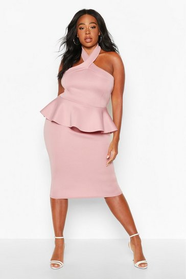 Womens Mink Plus Scuba High Neck Peplum Top & Midi Skirt Co-Ord