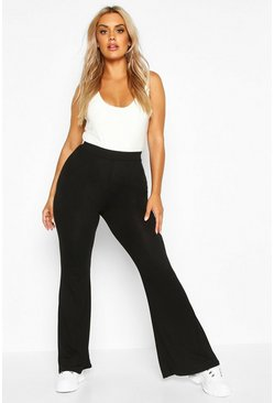 Black Plus Basic Jersey Flare Pants