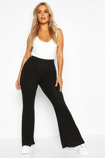 Womens Black Plus Basic Jersey Flare Trouser