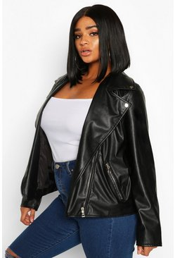 Black Plus Faux Leather Zip Biker Jacket