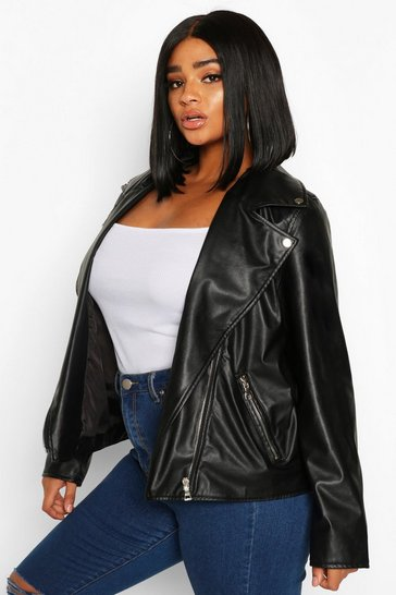 Womens Black Plus Faux Leather Zip Biker Jacket