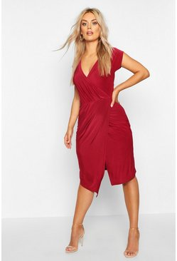 Womens Berry Plus Wrap Front Midi Dress
