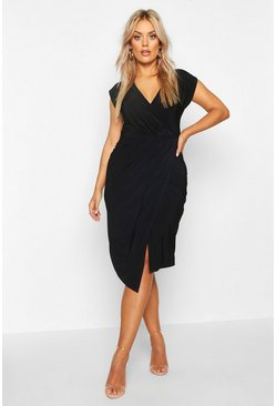 Womens Black Plus Wrap Front Midi Dress
