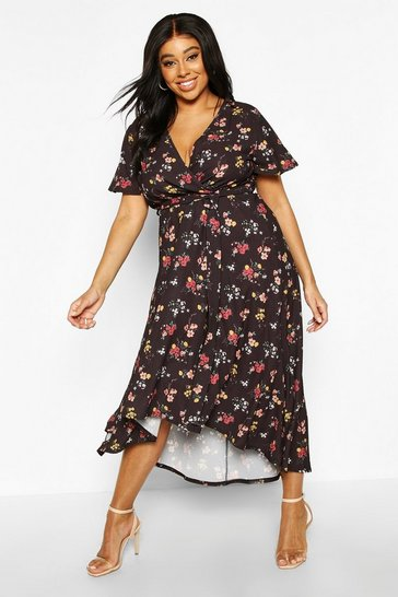 Womens Black Plus Dark Floral Woven Midi Dress