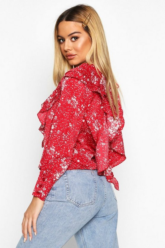 Red Petite Plunge Frill Floral Blouse