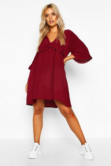 Womens Plus Ruffle Plunge Woven Shift Dress