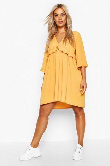 Womens Mustard Plus Ruffle Plunge Woven Shift Dress