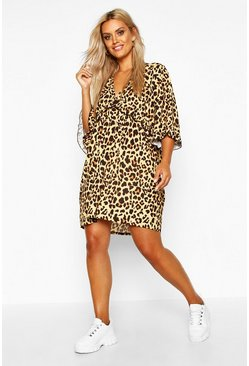 Womens Tan Plus Leopard Ruffle Plunge Woven Shift Dress