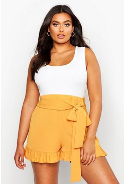 Mustard Plus Frill Tie Front Woven Flippy Shorts