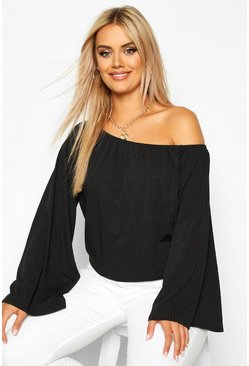 Womens Black Plus Oversized Rib Crop Sweater
