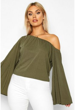 Womens Khaki Plus Oversized Rib Crop Sweater