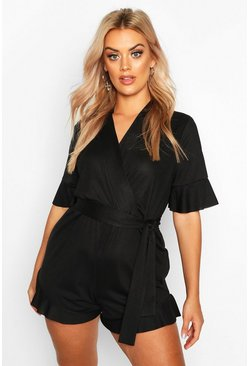 Black Plus Ruffle Hem Sleeve Self Belt Playsuit