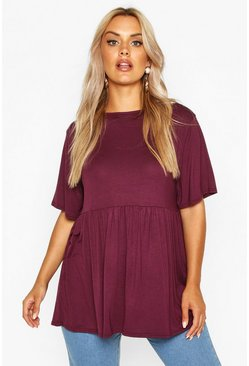 Womens Berry Plus Jersey Frill Hem Smock Top