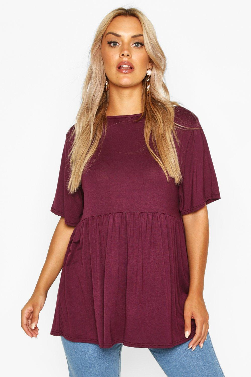 Plus Jersey Frill Hem Smock Top 6
