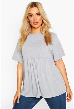 Grey Plus Jersey Frill Hem Smock Top