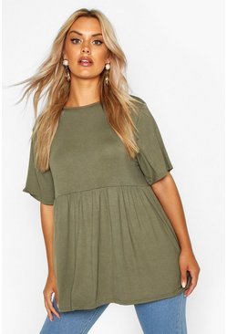 Womens Khaki Plus Jersey Frill Hem Smock Top
