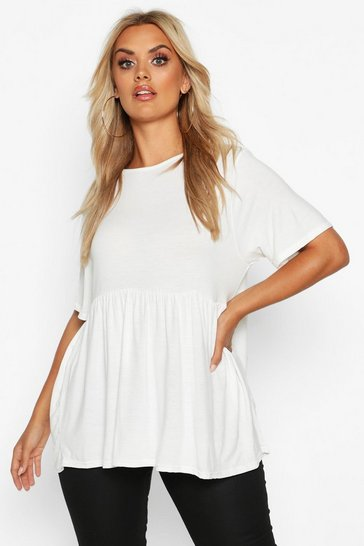 Womens White Plus Jersey Frill Hem Smock Top