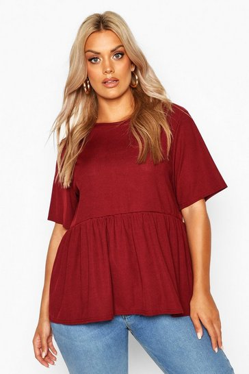 Womens Berry Plus Rib Ruffle Sleeve Smock Top