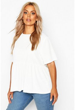 Womens Ivory Plus Rib Ruffle Sleeve Smock Top