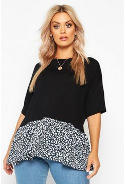 Womens Black Plus Leopard Print Smock Top