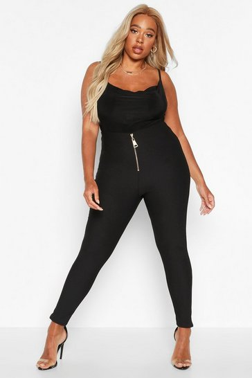 Womens Black Plus Chunky Zip Bandage Rib Leggings