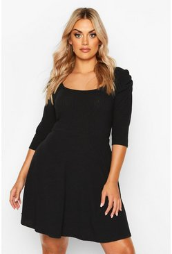 Womens Black Plus Ribbed Skater Dress