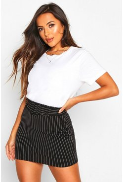 Black Petite Pinstripe Self Fabric Belt Skirt