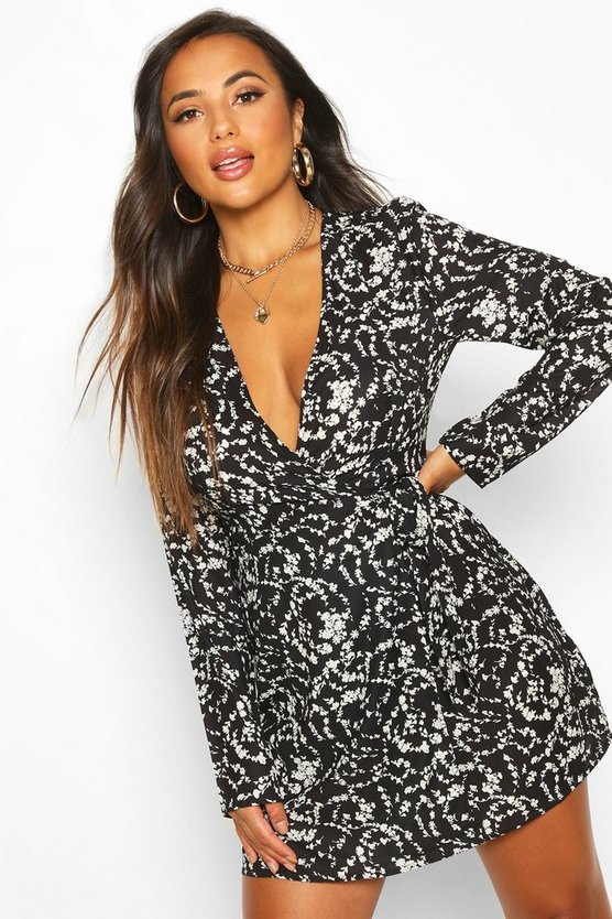 Petite Long Sleeve Woven Floral Print Wrap Dress by Boohoo