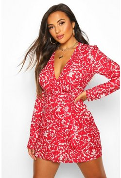 Womens Red Petite Long Sleeve Woven Floral Print Wrap Dress