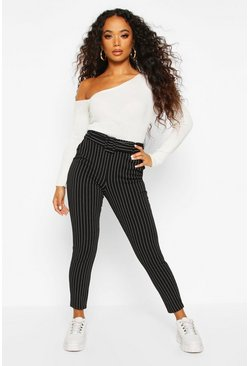 Womens Black Petite Pinstripe Self Fabric Belt Trousers