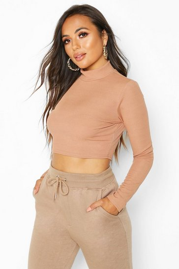 Camel Petite Roll Neck Rib Crop Top