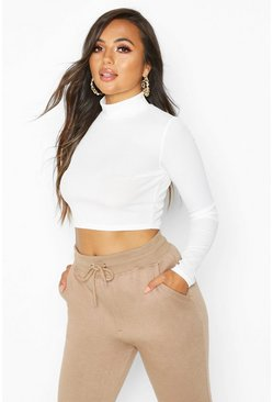 Womens Ivory Petite Roll Neck Rib Crop Top