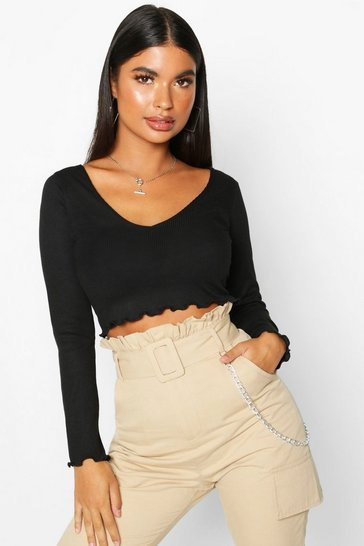 Black Petite Lettuce Hem V-Neck Long Sleeve Crop Top