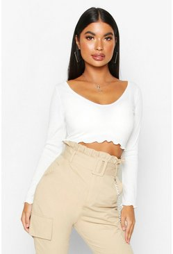 Womens Ivory Petite Lettuce Hem V-Neck Long Sleeve Crop Top