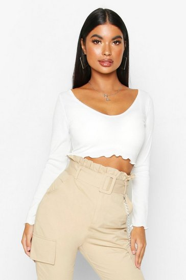 Ivory Petite Lettuce Hem V-Neck Long Sleeve Crop Top