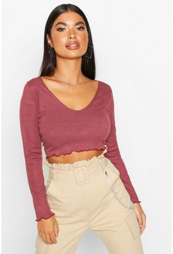 Wine Petite Lettuce Hem V-Neck Long Sleeve Crop Top