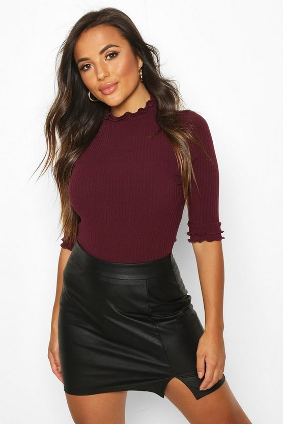 Berry Petite High Neck Ribbed Top