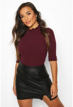 Womens Berry Petite High Neck Ribbed Top