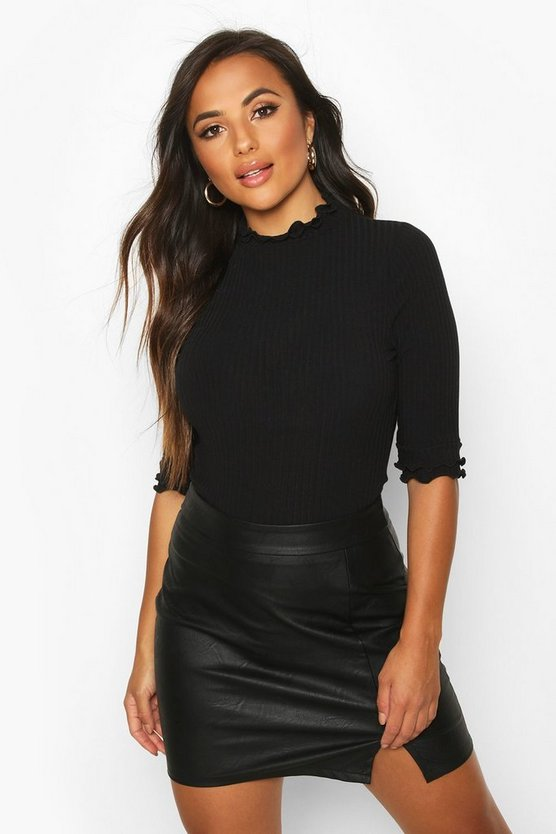 Black Petite High Neck Ribbed Top
