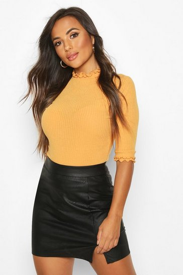 Womens Mustard Petite High Neck Ribbed Top