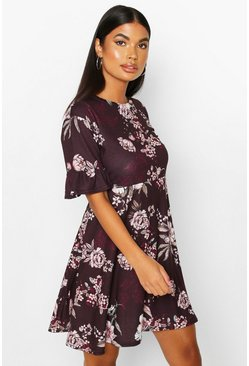 Berry Petite Floral Smock Dress